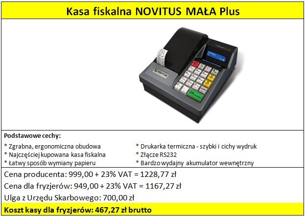 Kasa fiskalna NOVITUS MAŁA Plus dla fryzjerów