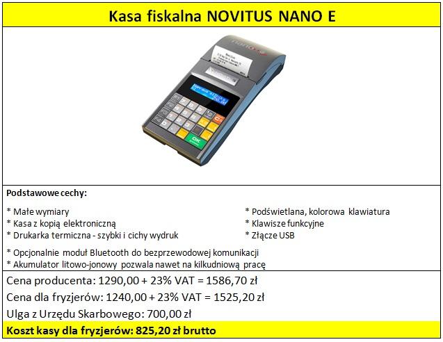 Kasa fiskalna NOVITUS NANO E dla fryzjerów